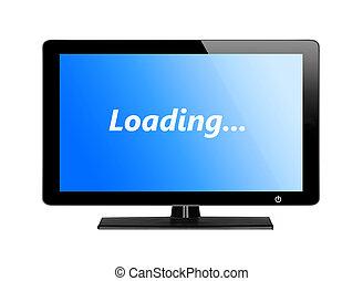 telewizja, błękitny osłaniają, nowoczesny