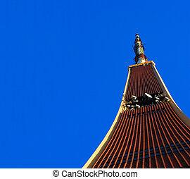 telewizja, błękitny, wieża, niebo