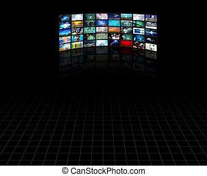 telewizja, cielna, poduszeczka, parawany