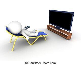 telewizja, człowiek, 3d, odprężając, oglądając