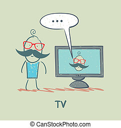 telewizja, człowiek, oglądając