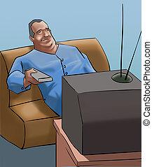 telewizja, człowiek, stary, oglądając