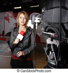 telewizja, kamera video, i, sprawozdawca