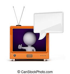 telewizja, osoba, 3d