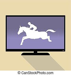 telewizja, płaski, pilnowanie, lekkoatletyka