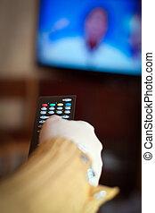 telewizja, panowanie, oddalony, dzierżawa ręka