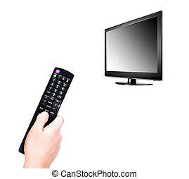 telewizja, panowanie, oddalony, ręka