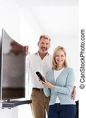 telewizja, para, łukowaty, dojrzały, nowy, portret dom, ekran