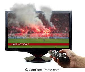 telewizja, piłka nożna, dym, odizolowany, mecz, ekran