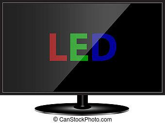 telewizja, poprowadzony, technologia