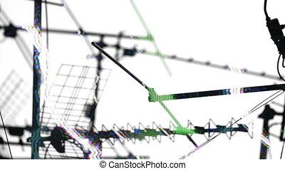 telewizja, próbka, abstrakcyjny, rooftops, aerials, satelici