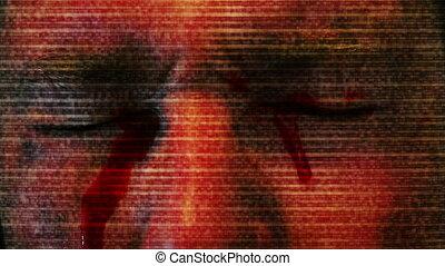 telewizja, przerażenie, oczy, krwawienie, statyczny