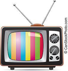 telewizja, retro, ilustracja, komplet, wektor