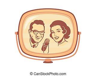 telewizja, retro, pokaz