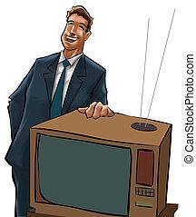 telewizja, sprzedaje, człowiek