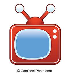 telewizja, wektor, retro
