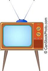 telewizja, wektor, stary, rysunek, ilustracja