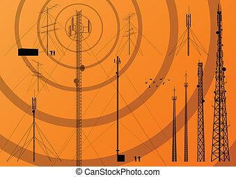 telewizja, wektor, tło, ruchomy, zbiór, telefon, stacja, baza, wieża, radio, telekomunikacje