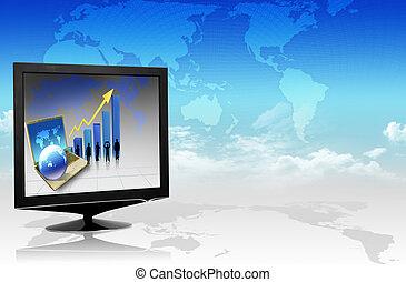 telewizja, wykres, handlowy