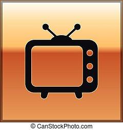 telewizja, złoty, telewizja, poznaczcie., odizolowany, ilustracja, tło., wektor, czarnoskóry, ikona