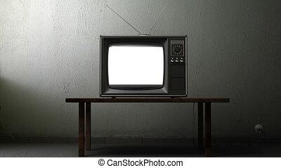 telewizja, zielony, ekran, stary