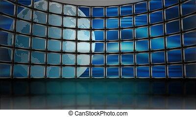 telewizja, ziemia, obrotowy, ożywiony, hydromonitory, pętla