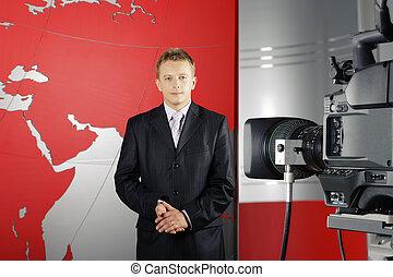 telewizyjna nowość, sprawozdawca, i, kamera video