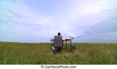 Telework outside - business man working in remote office
