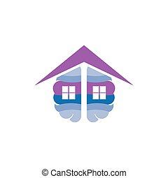 telhado, cérebro, vetorial, lar, logotipo, ícone