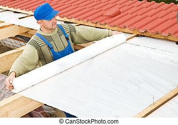 telhado, camada, protetor, folha, trabalhos