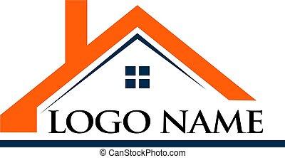 telhado, casa, e, logotipo, nome, ilustração