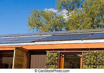 telhado, casa, lar, painel solar, água quente, aquecimento,...
