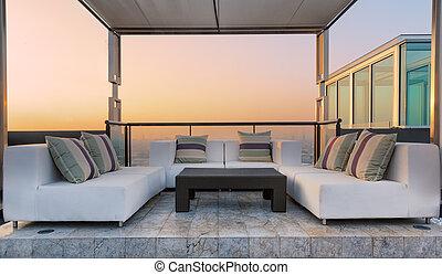 telhado, coner, relaxe, topo, condomínio