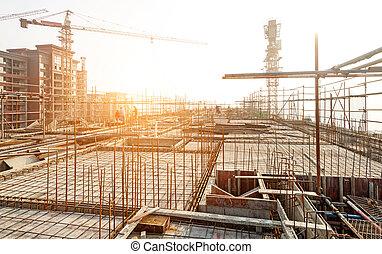 telhado, construir, estrutura, íon