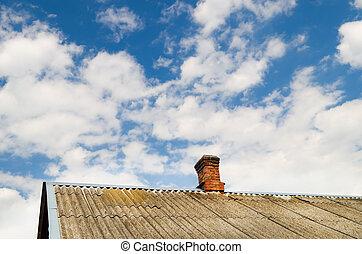 telhado, de, a, casa, com, um, tijolo, cano