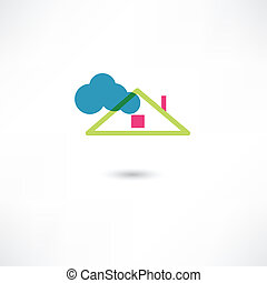 telhado, e, nuvem