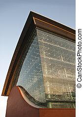 telhado, futurista, amanhecer, predios, architecture., azul, metal, céu, modernos, dado forma, parede, arco, poder, industrial, onda, brickwall, vidro, planta
