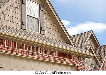 telhado, linha, gables