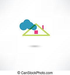 telhado, nuvem