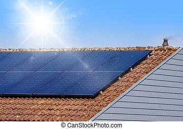 telhado, painel solar