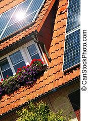 telhado, solar