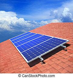 telhado, solar, painéis