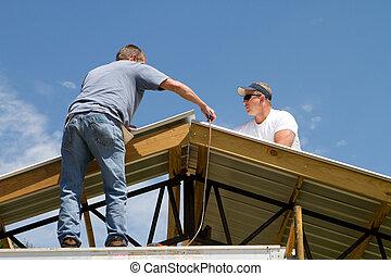 telhado, trabalhadores, construção