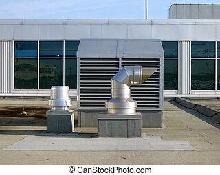 telhado, ventiladores