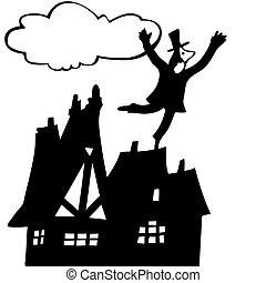telhado, vetorial, varredura chaminé, ilustração