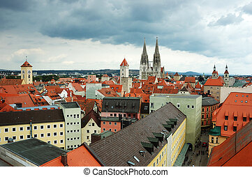 telhados, antigas, regensburg, herança