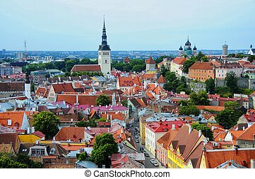 telhados, antigas, tallinn, estónia, vermelho