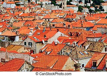 telhados, casa, vista superior