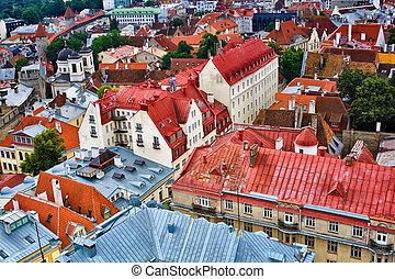 telhados, cidade, antigas, tallinn