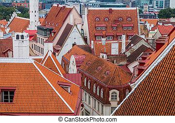 telhados, cidade velha, eston, tallinn